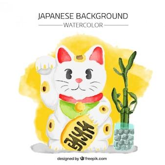 招き猫と水彩画の背景
