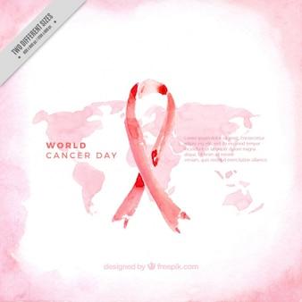 Акварельный фон с картой и лентой для дня мирового рака