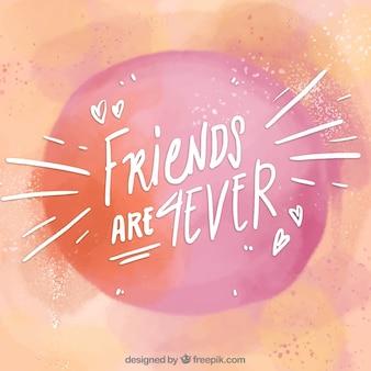 友情のメッセージを持つ水彩の背景