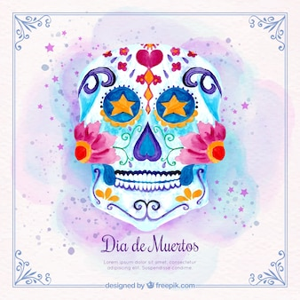 Watercolor background with mexican floral skull