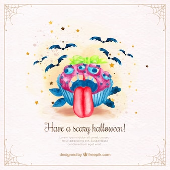 Watercolor background with monstrous halloween cupcake