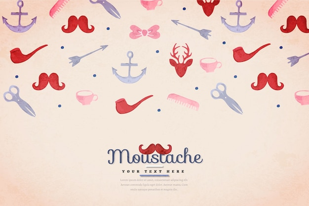 Watercolor background with movember elements