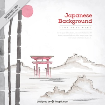 Priorità bassa dell'acquerello con la natura del paesaggio giapponese