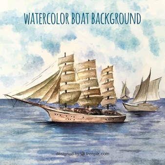 Watercolor background with old boats