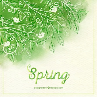 Sfondo acquerello con rami e foglie ornamentali