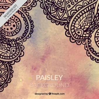 Watercolor background with paisley decoration