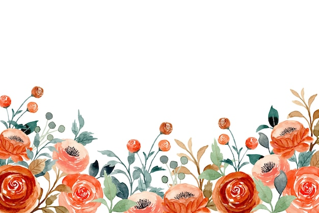 Watercolor background with peach flower