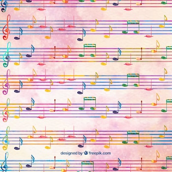 Watercolor background with pentagrams and musical notes