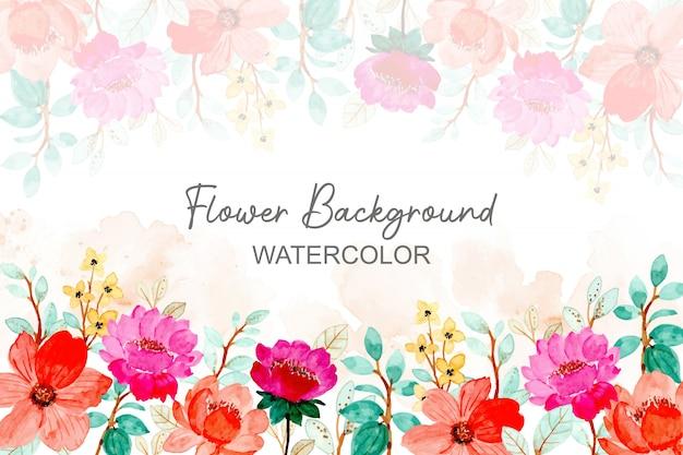 Акварельный фон с розовым цветком и зелеными листьями
