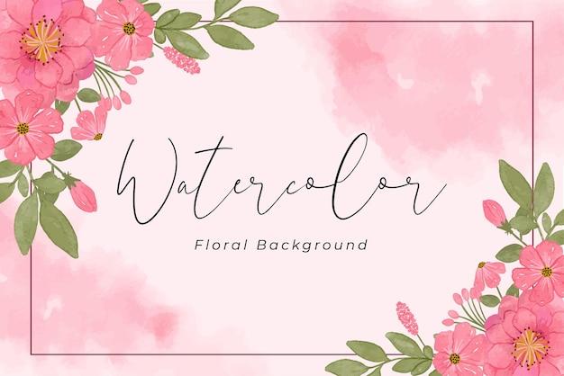 핑크 꽃 색과 녹색 잎 수채화 배경