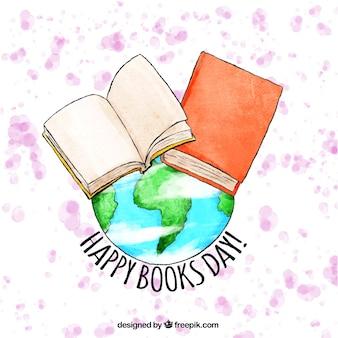地球や書籍で水彩画の背景
