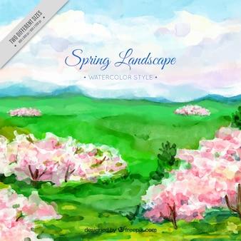 예쁜 봄 나무와 수채화 배경