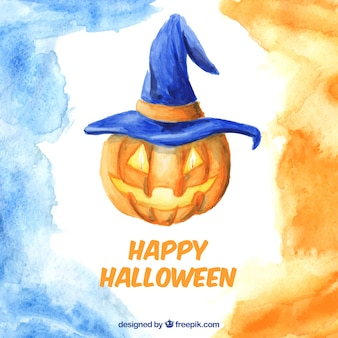 Watercolor background with pumpkin and blue witch hat