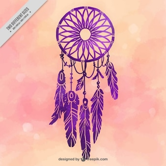 Watercolor background with purple dream catcher