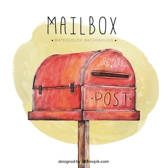 Watercolor background with red mailbox