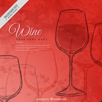 Watercolor background with red wine glass sketches
