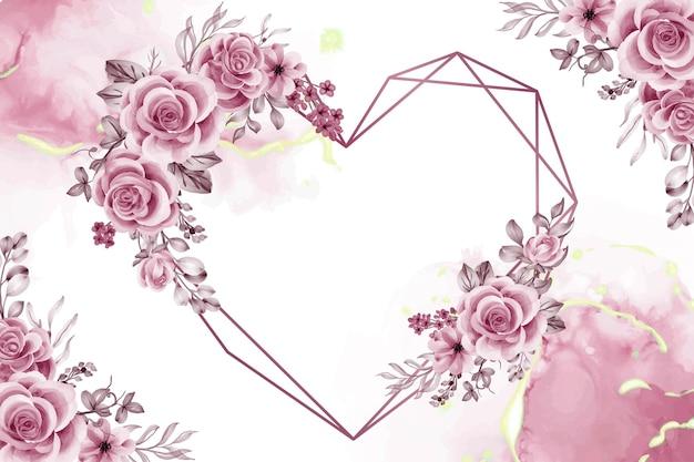 Акварельный фон с розовыми золотыми цветами и листьями любит геометрическую форму Premium векторы