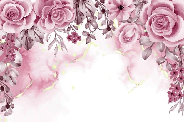 Акварельный фон с розовыми золотыми цветами и листьями