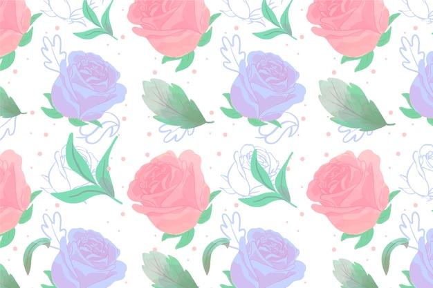 バラと水彩の背景