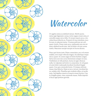 海のシェルと水彩の背景。レトロ夏の背景。ベクトル水彩