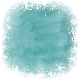 Watercolor background with snowy border