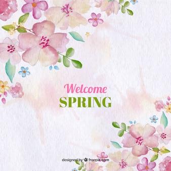 봄 꽃으로 수채화 배경