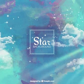 별과 구름과 수채화 배경