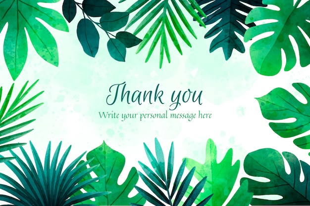 Watercolor background with thank you text