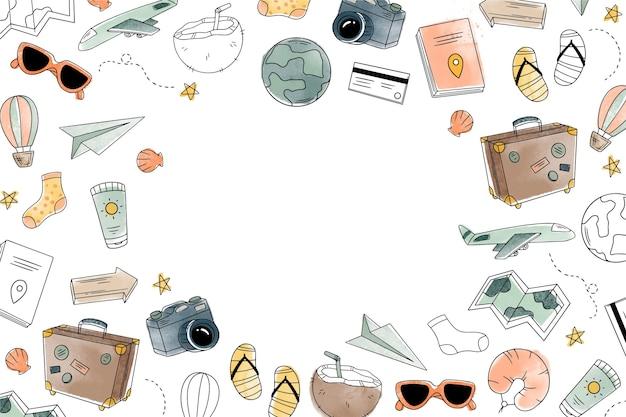 Sfondo acquerello con scarabocchi di viaggio