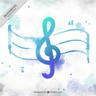 Watercolor background with treble clef and stave
