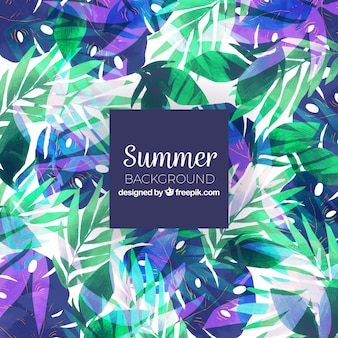 Watercolor background with tropical leaves