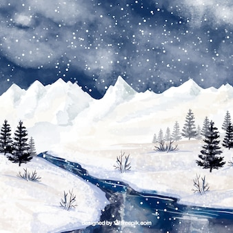 Акварельный фон с зимним пейзажем