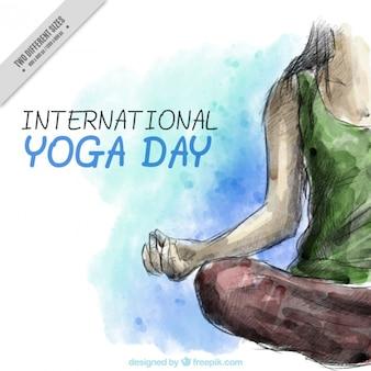 Priorità bassa dell'acquerello con la donna che fa yoga