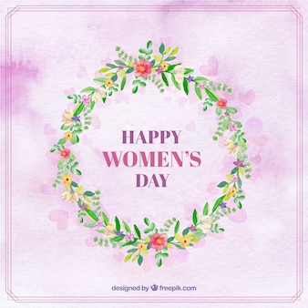 Watercolor background with woman's day floral wreath