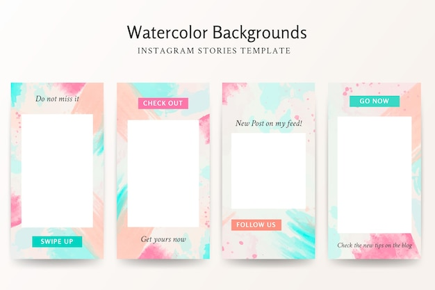 Watercolor backgrounds instagram stories template set