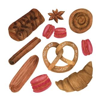 수채화 빵집 클립 아트 컬렉션 손으로 그린 수채화 구운 식품