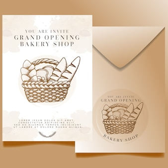 Watercolor bakery shop grand opening invitation editable template