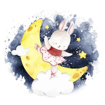 밤 하늘에서 춤추는 수채화 발레리나 토끼