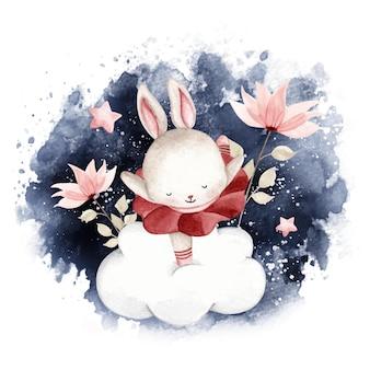 夜空に踊る水彩バレリーナウサギ
