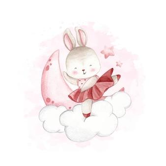 구름에 춤추는 수채화 발레리나 토끼