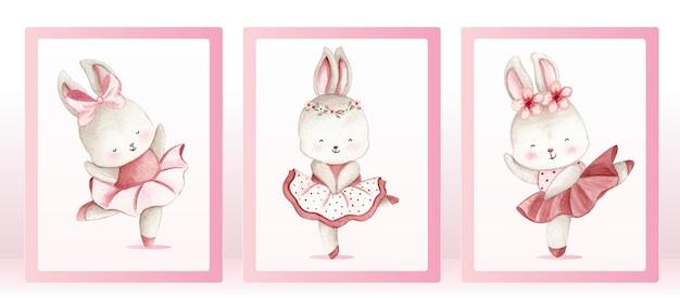 수채화 발레리나 토끼