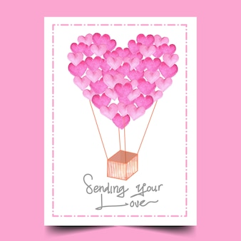 Watercolor of balloon love greeting card