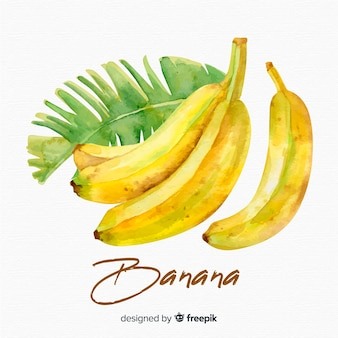 Watercolor banana background