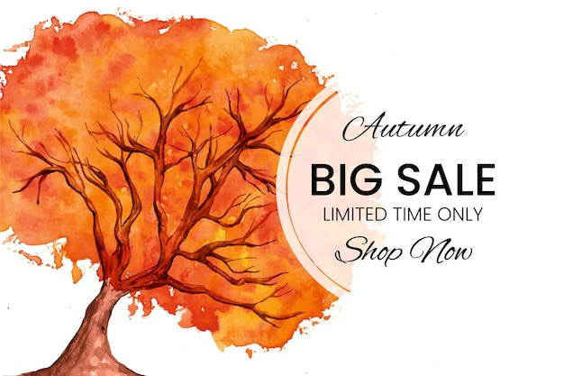 Watercolor banner autumn sale