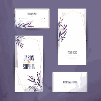 Watercolor banner and business card set