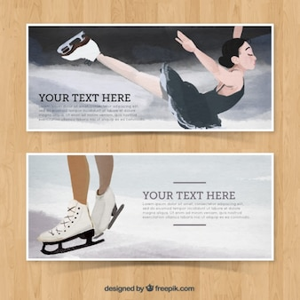 Watercolor banners of figure skating