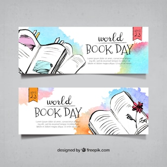 Watercolor banners of hand drawn books
