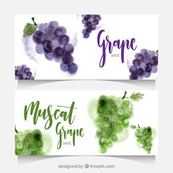 Акварельные баннеры с виноградом