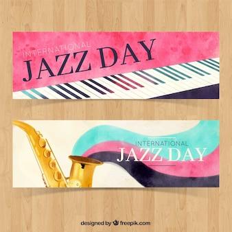 Banner acquerello di pianoforte e sassofono