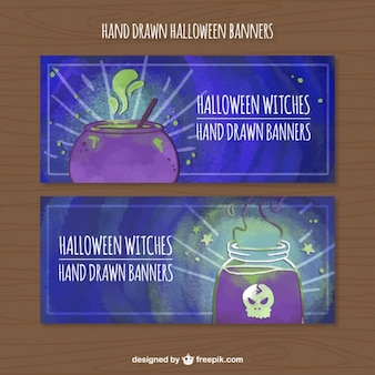 Watercolor banners set of spells